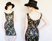 1960s Black Gold Brocade Beaded Cocktail Dress 60s Sleeveless Wiggle Party Dress Ornate Floral Print Small