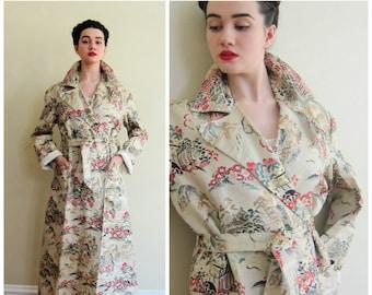 Vintage 1950s 1940s Souvenir Robe Coat in Silk Brocade  Mens or Unisex / 50s 40s Japanese Scene Silkweave Metallic Coat AS IS /