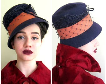 Vintage 1960s Bucket Hat in Dark Blue and Orange with Netting / 60s Wool Tall Hat Henry Pollak Glenover