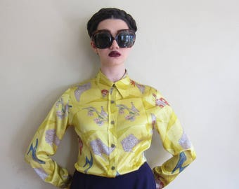 Vintage 1990s Ferragamo Yellow Silk Print Blouse / 90s Shoes Print Designer Button Down Blouse / Medium