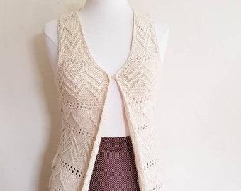 1970s Cream Crochet Vest with Fringe by Crazy Horse / 70s Long Duster Knit Vest Hippie Boho / S / Dakota
