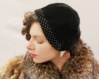 ac1403586c0cc 1950s Black Velvet Hat with Rhinestones   50s Flapper Style 20s 30s Style  Soft Black Velvet Cloche by Martha Weathered