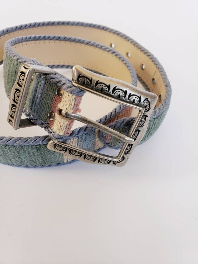 80s Tapestry Belt Blue Pink Southwestern Cowgirl  1980s Fabric Belt Pastel Stripe Cowgirl Country Western Elite Fresno California  Small