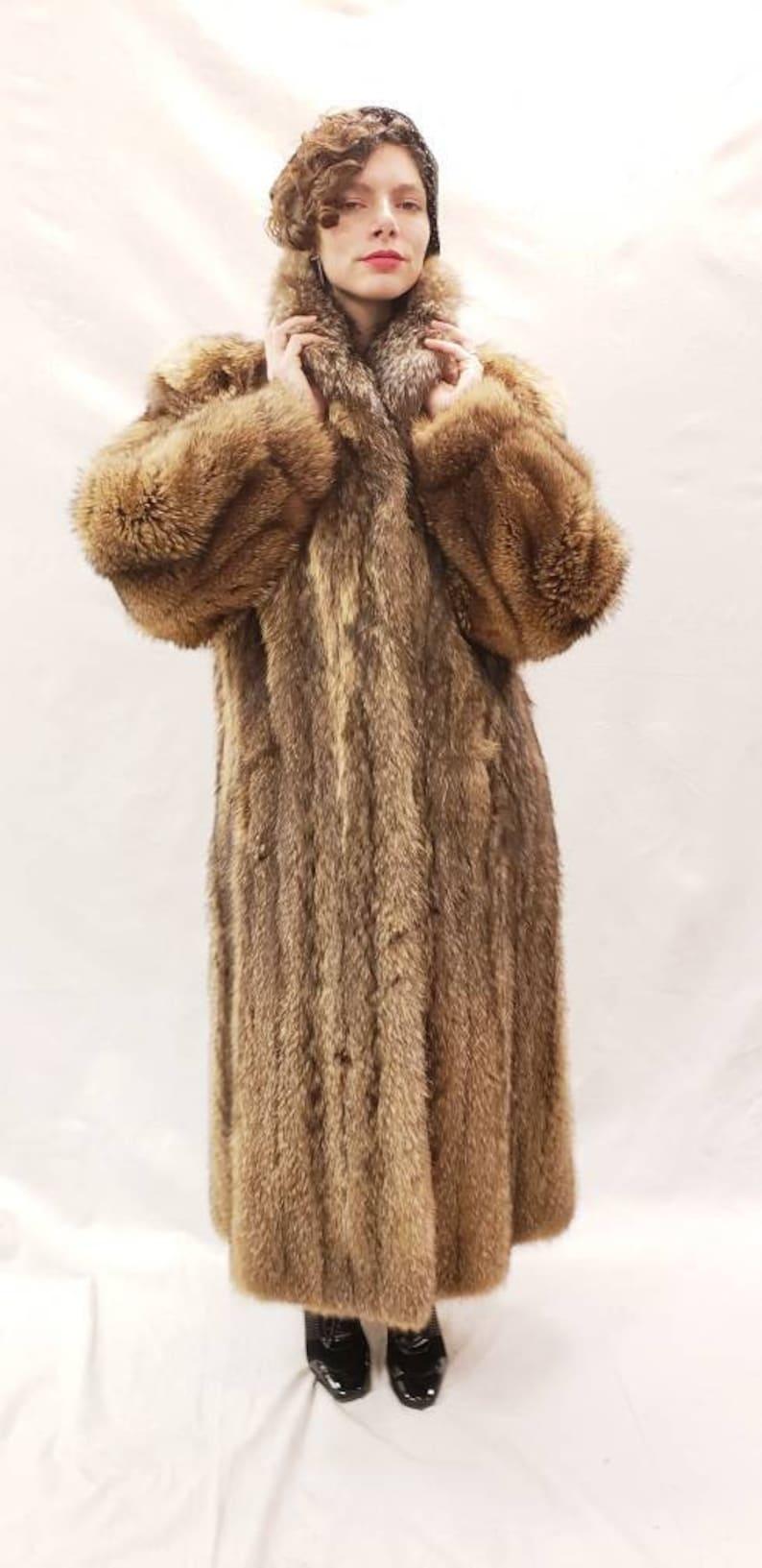 finest selection 03459 4a6b8 Jahrgang Fell Mantel /Full Länge Waschbär Pelz Mantel /80s tut der 30er  Jahre Stil Wintermantel / Old Hollywood Glam / mittlere bis große