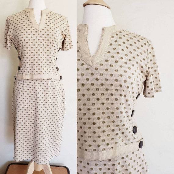 1950s Knit Skirt Set in Beige and Brown / 50s Ense