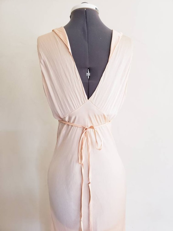 1930s Pink Silk Bias Cut Nightgown Negligee Night… - image 8