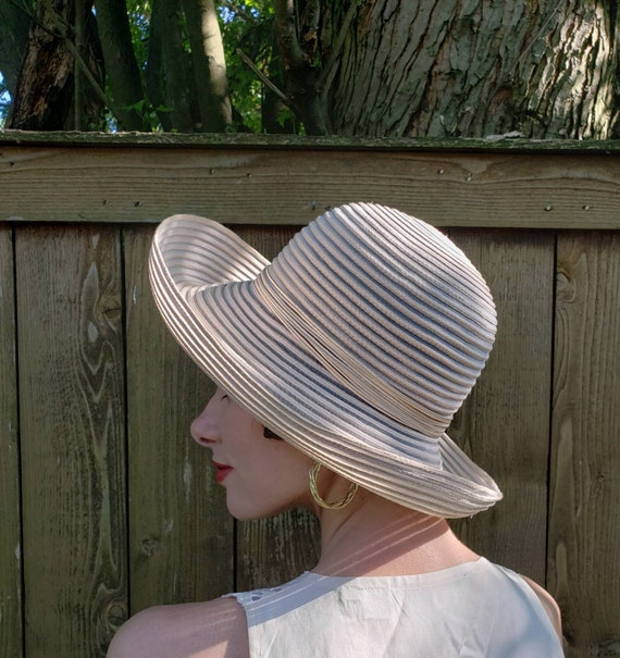 1990s Frank Olive Summer Hat Beige Striped / 90s S