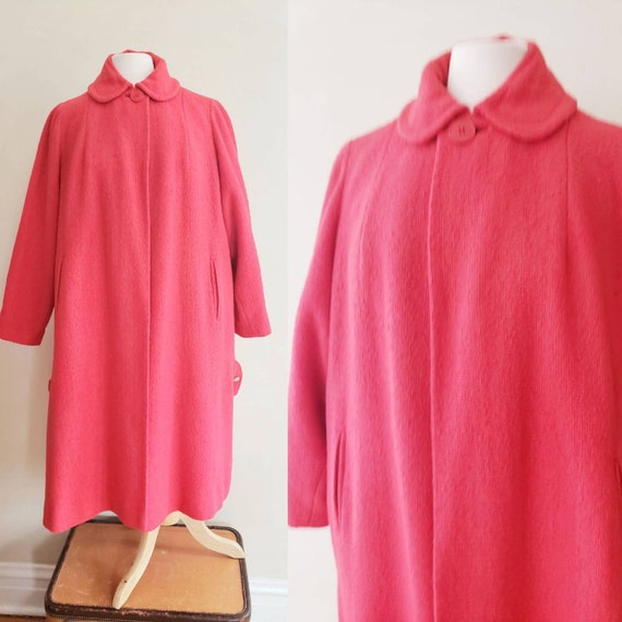 1950s Coral Pink Red Wool A Line Coat / 50s Coat P