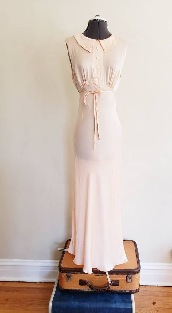1930s Pink Silk Bias Cut Nightgown Negligee Night… - image 5