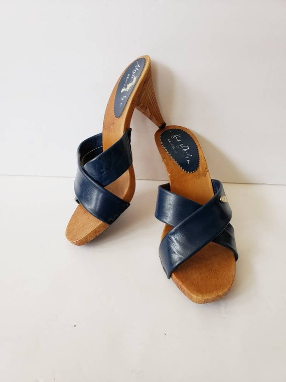 70s Black Suede Sandals