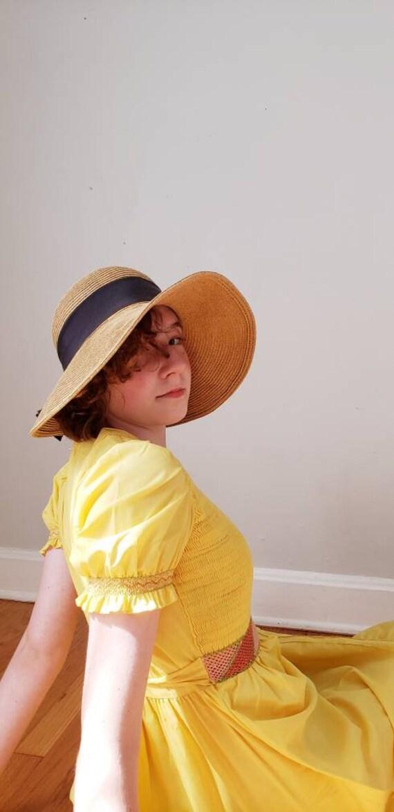 Vintage Beige Straw Hat Black Bow / Neo Edwardian… - image 1
