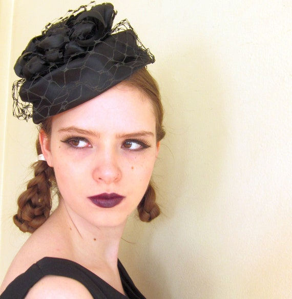 1960s Black Hat   60s Black Satin Ribbon Cocktail Hat with  fed2e043967