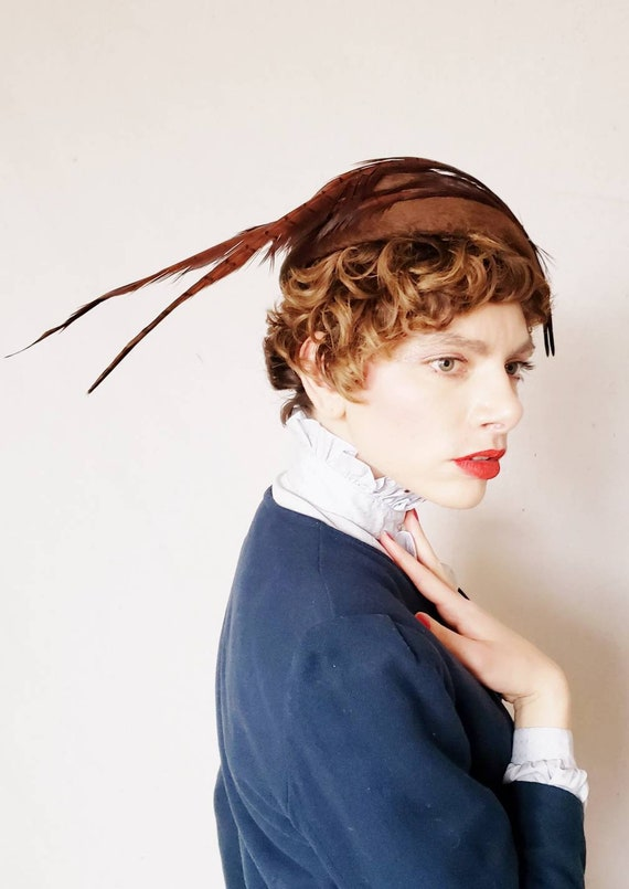 1960s Lilly Dache Brown Hat with Long Feathers / 6