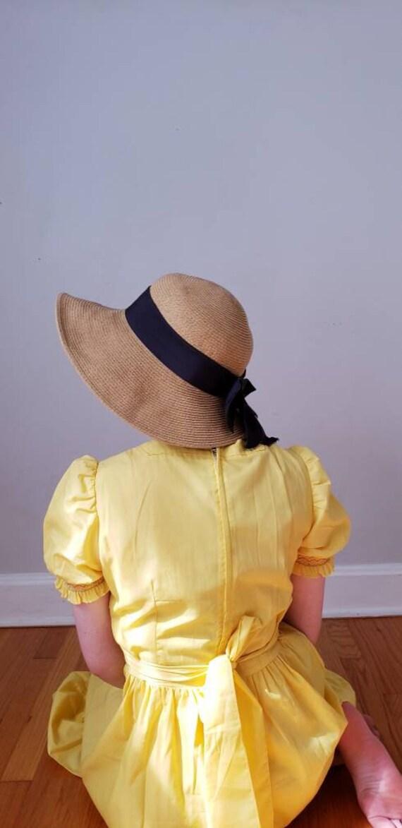 Vintage Beige Straw Hat Black Bow / Neo Edwardian… - image 5