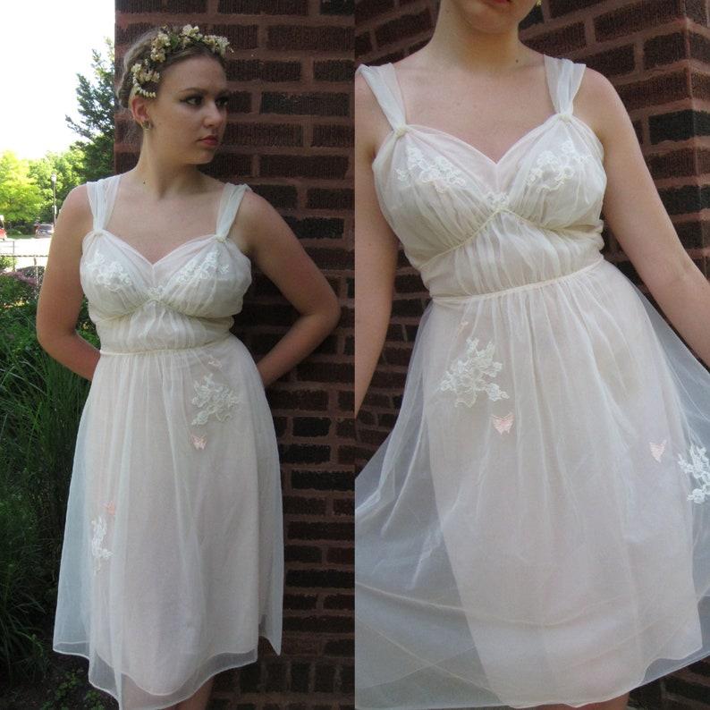 f1b909a196beb 1950s Pink Nylon Nightgown / 50s Pale Pink Nylon Slip Dress   Etsy