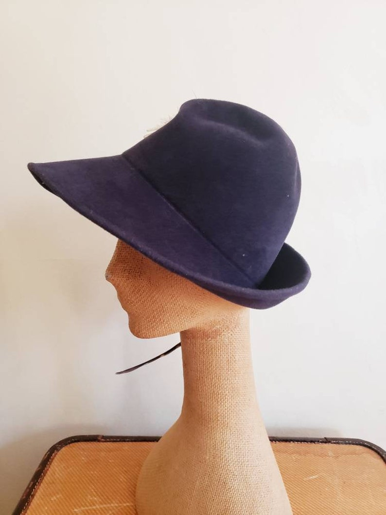 1970s Fedora Navy Blue Wool Large Brown Feather  70s Boho Style Wide Brimmed Hat Marshall Field  Candace