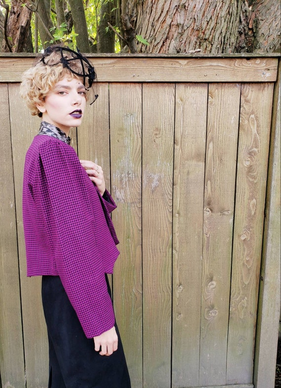1980s Purple Wool Cropped Blazer / 80s Big Should… - image 9