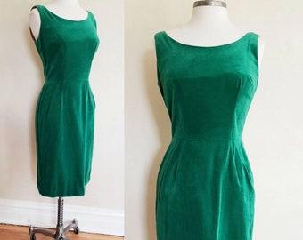 1950s Green Velvet Party Dress Sleeveless / 50s Wiggle Dress Cocktail Evening Bombshell / S/ Ava