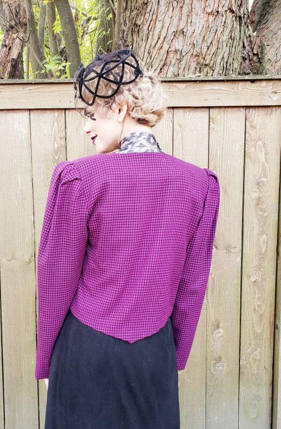 1980s Purple Wool Cropped Blazer / 80s Big Should… - image 8