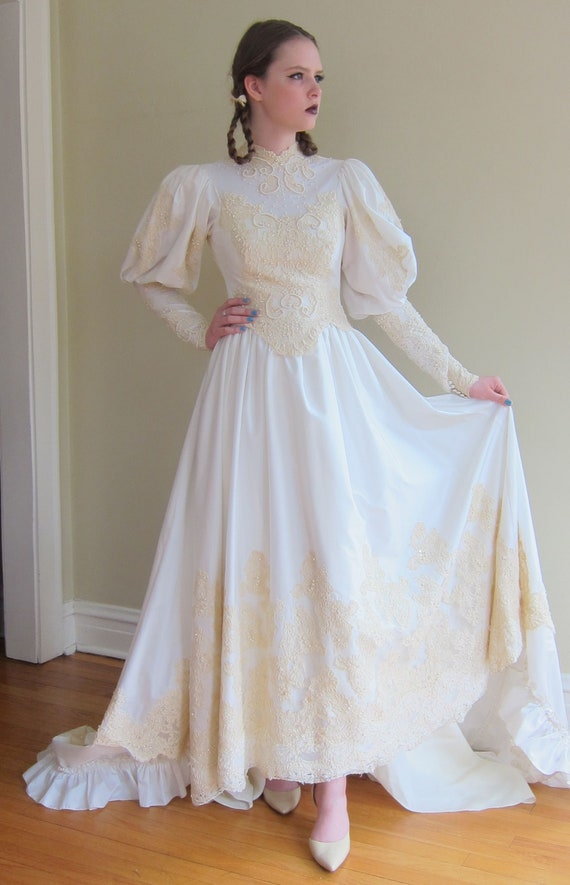 1980s Wedding Dress With Statement Sleeves 80s Neo Edwardian Etsy