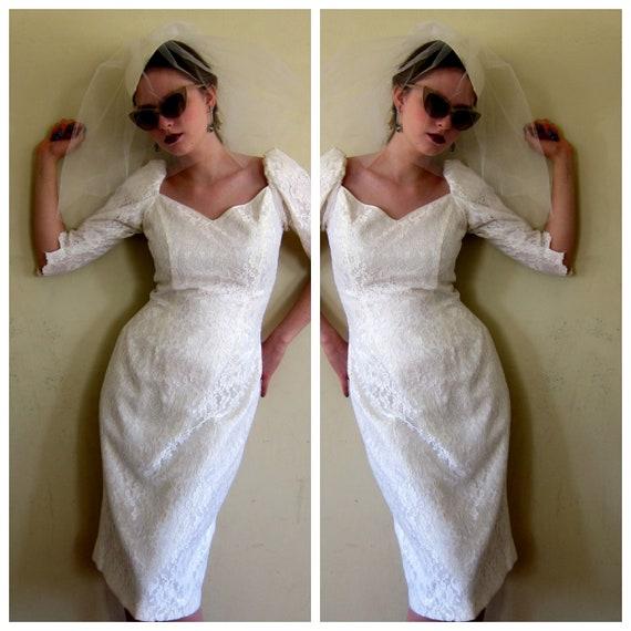 1980s Wedding Dress with Lace Dress / 80s Midi Len