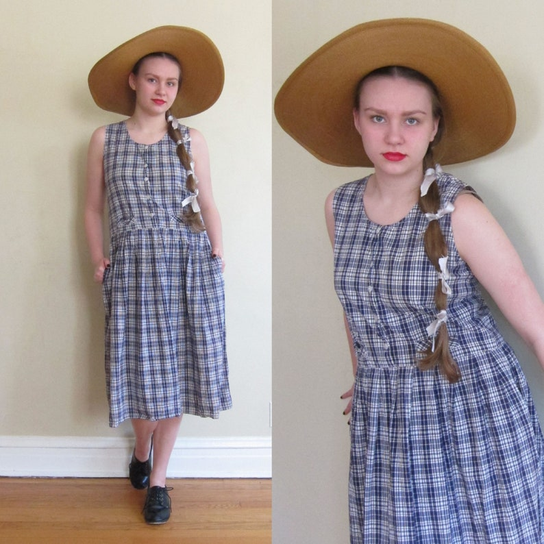 93feefff35 Vintage 1980s Blue Plaid Summer Dress / 80s Midi Length Cotton | Etsy