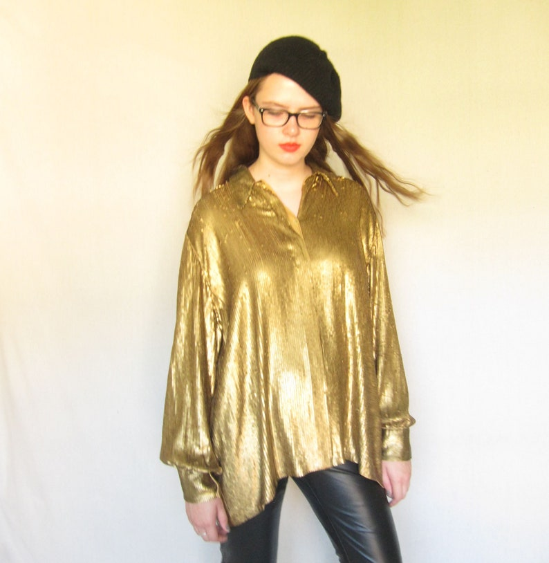 115ef95bc0e2f 1990s Gold Blouse in Sequins   90s Donna Karan Button Down Shirt Metallic  Sequined Oversized Shirt   Large Plus Size vintage