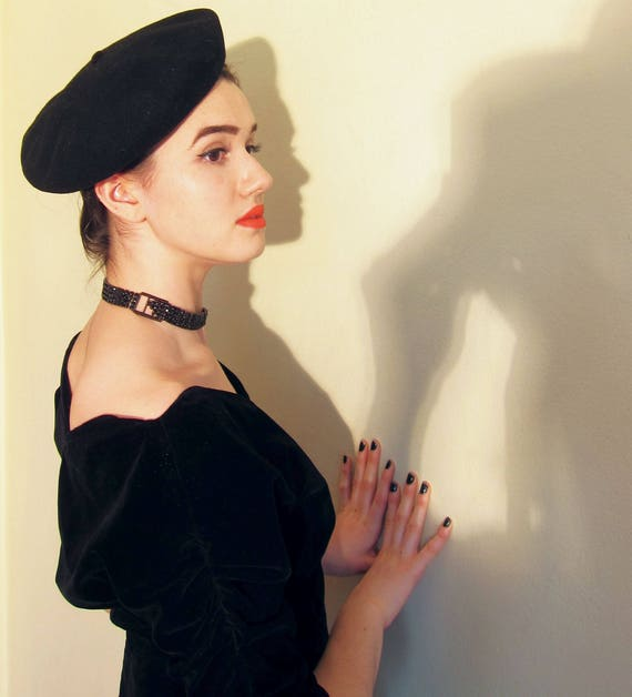 58c8bca71 Vintage Black Wool Beret from France / Black Tam Bini Hat Hoquy French  Unisex His Hers