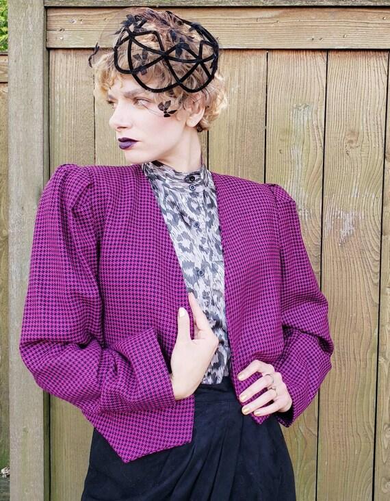 1980s Purple Wool Cropped Blazer / 80s Big Should… - image 4