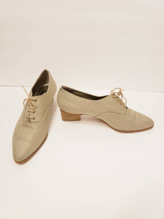1990s Beige Canvas Lace Up Shoes / 90s Does Edward