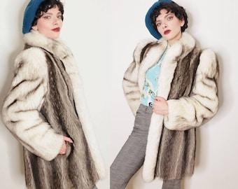 1980s Raccoon and Blue Fox Fur Jacket Huge Sleeves / 80s Tuxedo Collar Gray Cream Short Coat / Large / Bettina