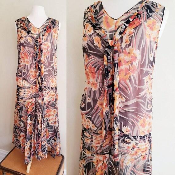 1920s Style Rayon Print Sleeveless Dress Multicolo