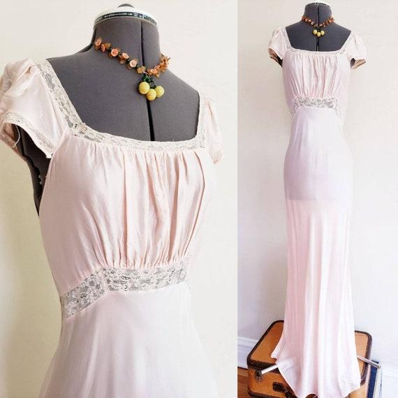 1930s Pink Rayon Bias Cut Nightgown Negligee Night