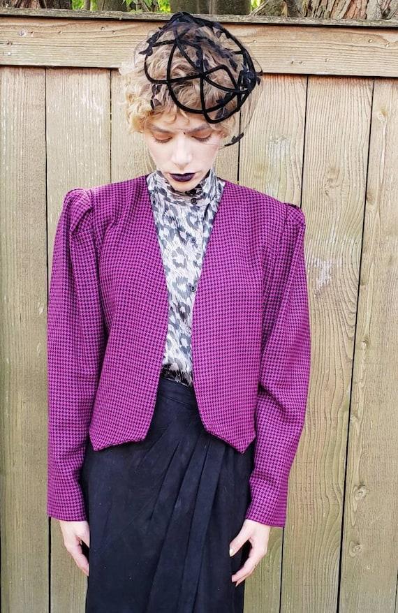 1980s Purple Wool Cropped Blazer / 80s Big Should… - image 3