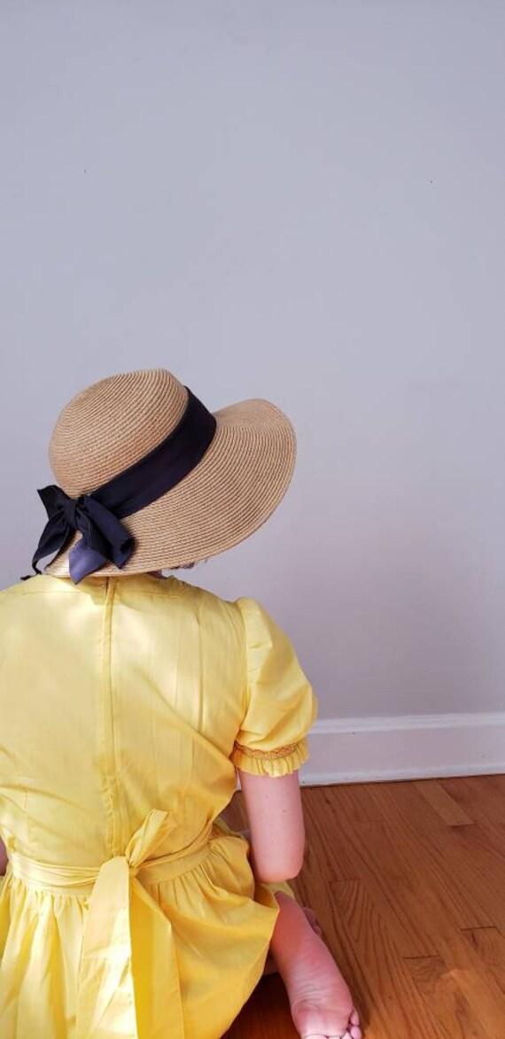 Vintage Beige Straw Hat Black Bow / Neo Edwardian… - image 3