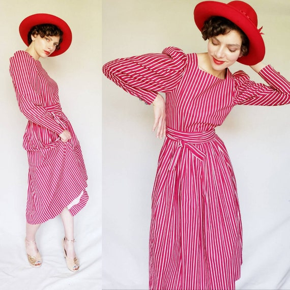 1980s Striped Cotton Print Laura Ashley Dress / 80