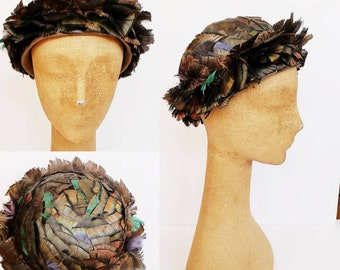 1970s Yves Saint Laurent Feather Hat / 70s Designer French Millinery round Hat with Multicolored Opalescent Feathers / Sofiane