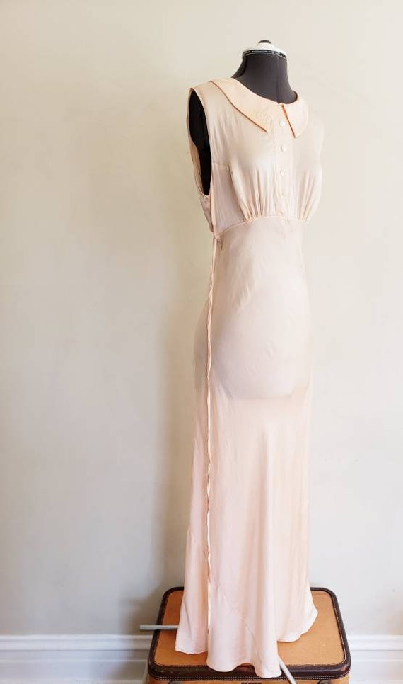 1930s Pink Silk Bias Cut Nightgown Negligee Night… - image 4