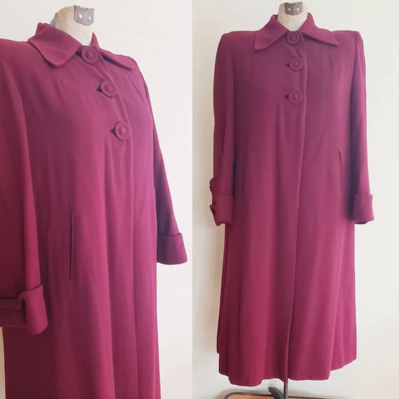 1940s Burgundy Red Wool Coat / 40s Button Down A L