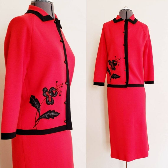 1960s Dimonelli Red Knit Wool Skirt Suit Embroider