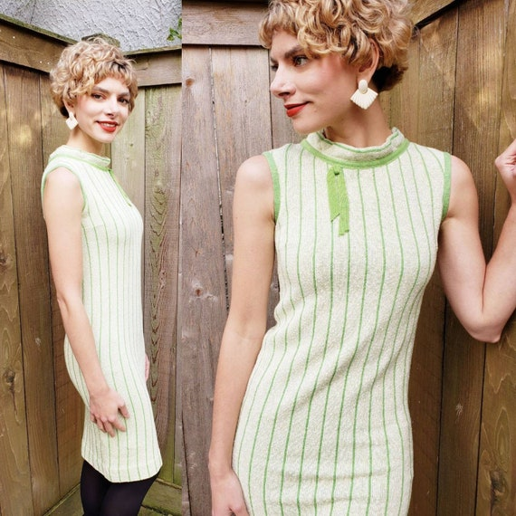 1960s Green Knit Mod Dress / 60s Sleeveless Shift… - image 1