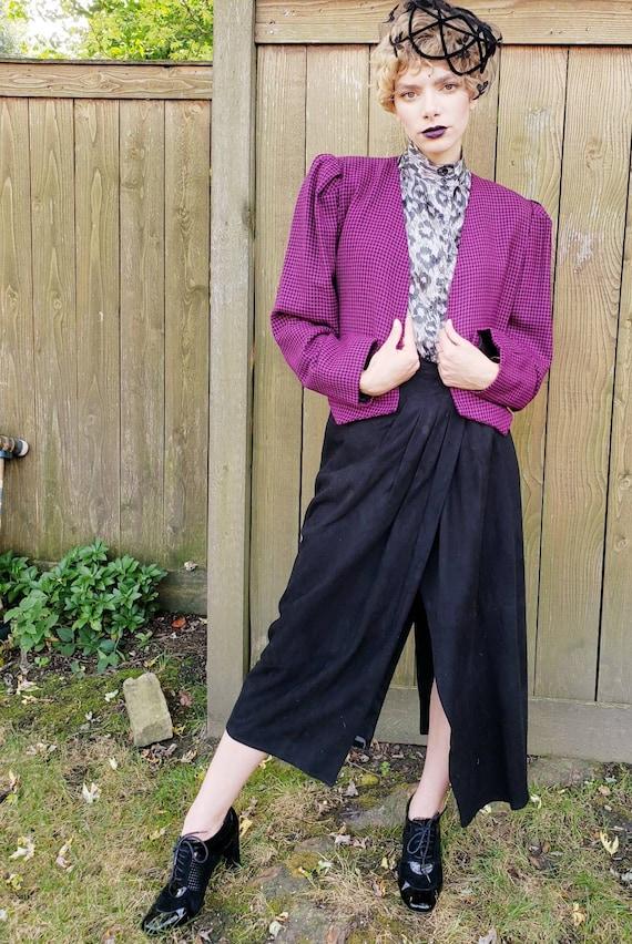 1980s Purple Wool Cropped Blazer / 80s Big Should… - image 6