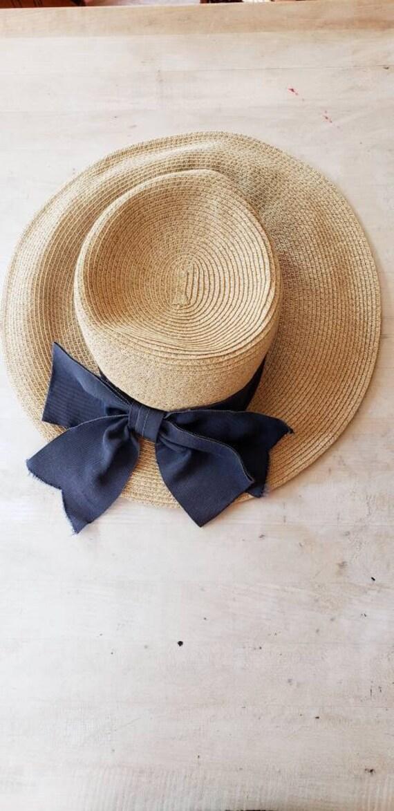 Vintage Beige Straw Hat Black Bow / Neo Edwardian… - image 7