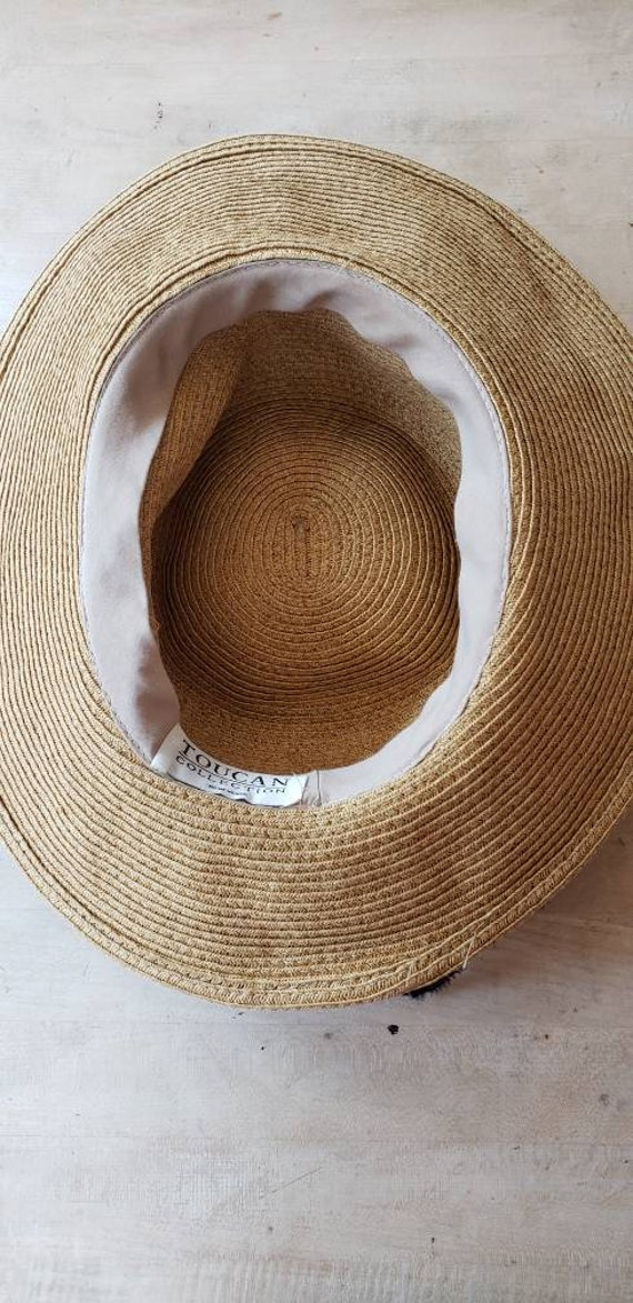 Vintage Beige Straw Hat Black Bow / Neo Edwardian… - image 8