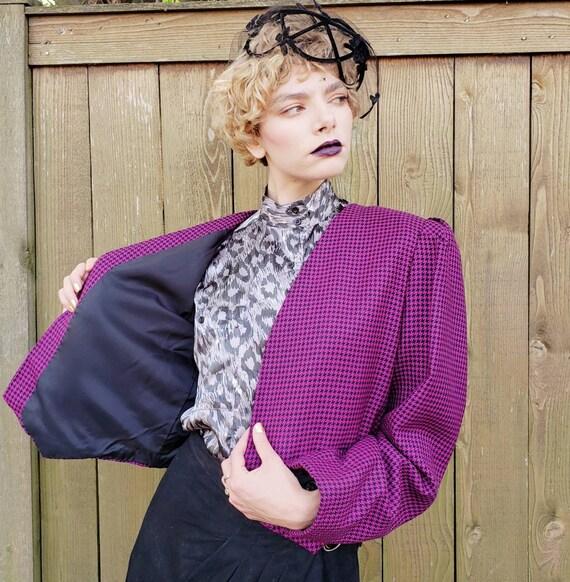 1980s Purple Wool Cropped Blazer / 80s Big Should… - image 5