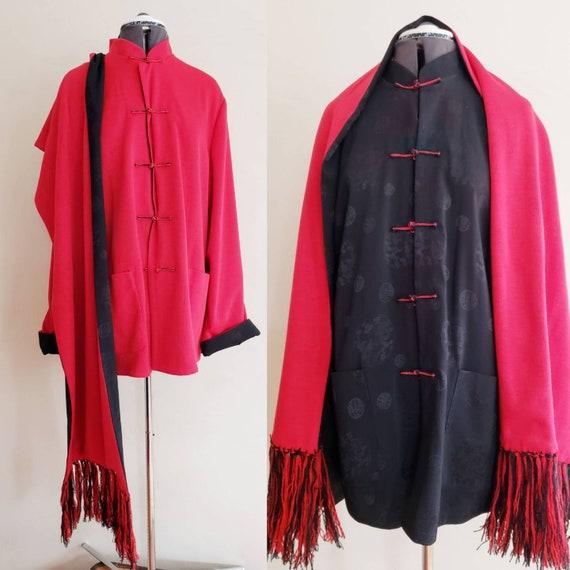90s Red & Black Reversible Silk Chinese Jacket / 1