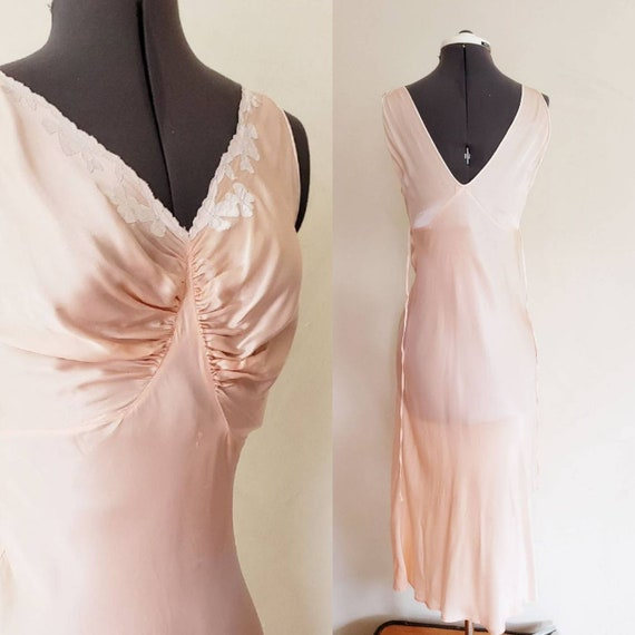 1930s Pink Silk Bias Cut Nightgown Negligee Night… - image 1