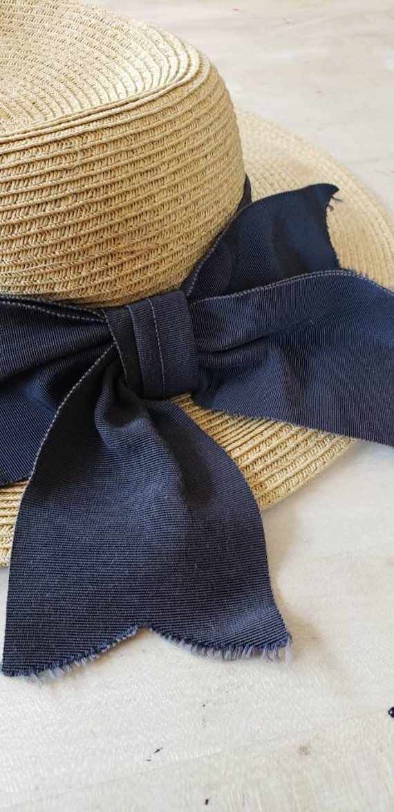 Vintage Beige Straw Hat Black Bow / Neo Edwardian… - image 10