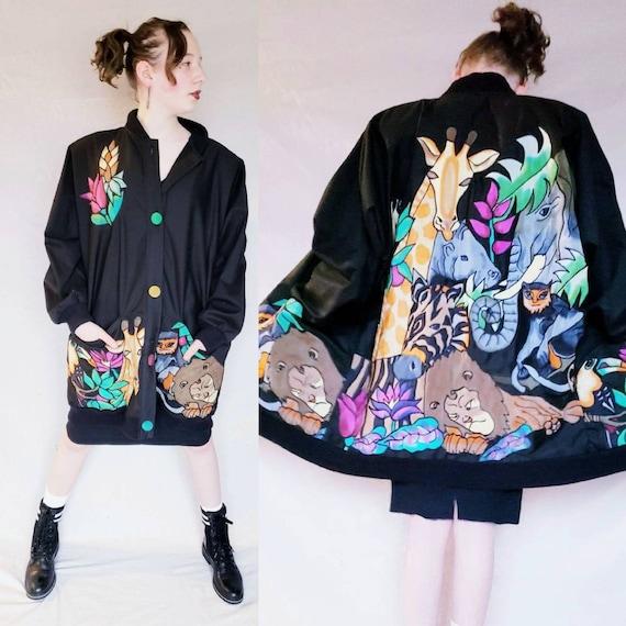 1980s Silkscapes Jacket Jungle Animals Applique /