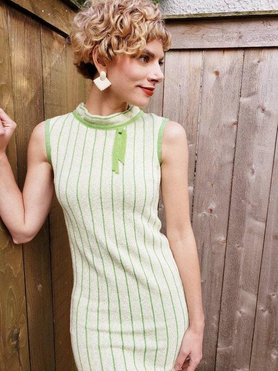 1960s Green Knit Mod Dress / 60s Sleeveless Shift… - image 6